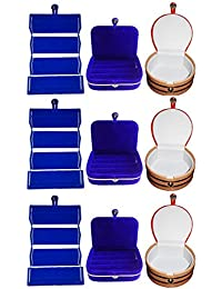 Afrose Combo 3 Pc Blue Earring Folder 3 Blue Ear Ring Box And 3 Pc Bangle Box Jewelry Vanity Case - B0779Q7D9M