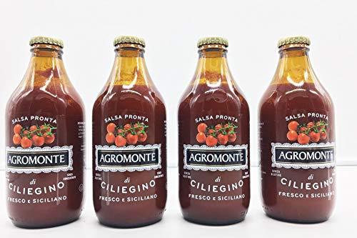 GOURMOOD ECCELLENZE ITALIANE Passata di pomodoro senza glutine, prodotto vegano, 100% naturale, prodotto in Sicilia, prodotto con pomodori ciliegino freschi 4 x 330 gr