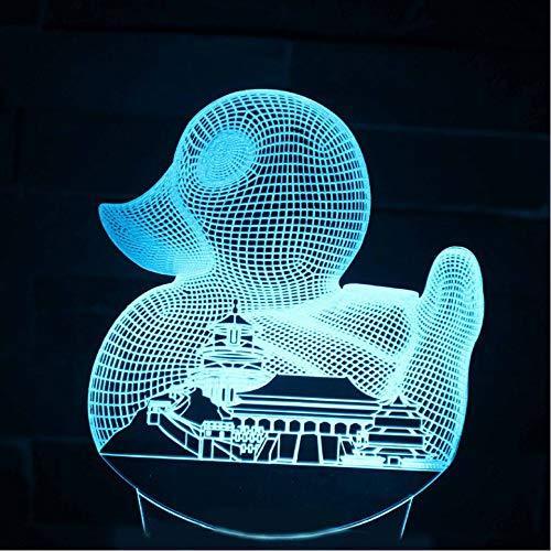 Tzxdbhneuheit Nachtlicht 3D Led Kreative Visuelle Usb Kleine Ente Und Stadt Gebäude Schreibtischlampe Wohnkultur Baby Schlafen Leuchte