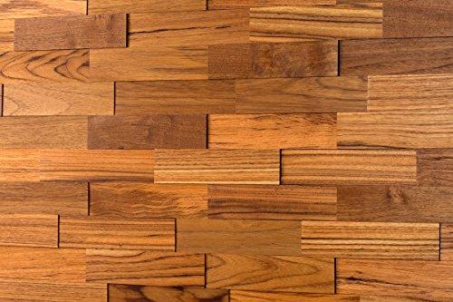 wodewa Wandverkleidung Holz 3D Optik Teak 1m² Wandpaneele Moderne Wanddekoration Holzverkleidung Holzwand Wohnzimmer Küche Schlafzimmer Geölt