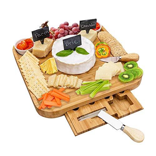 PENGSHAO Käsebrett aus Bambus, Schieferplatten, Käseplatte Versteckter Schubladen mit 4 Käsemesser und 2 Keramikbecher Set