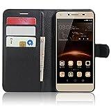 SMTR Huawei Y5II / Huawei Y5 2 Coque PU Cuir Flip Housse Étui Cover Case Wallet Portefeuille Supporter avec Carte de Crédit Fentes pour Huawei Y5II / Huawei Y5 2 -Noir