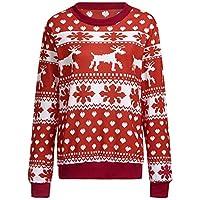 HWTOP Sweatshirts Hoodies Damen Shirt Oberteil Hemd Langer T-Shirt Bluse Pullover Locker Weihnachten Sport Freizeit Premium Kleidung Schnee Muster Langarmshirt Bluse Frauen Tops