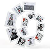 """Marco de fotos mural efecto """"collage"""" - Forma de espiral - Capacidad 12 fotos - Color BLANCO"""