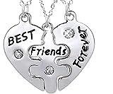 Inception Pro Infinite 3 x Halskette mit Anhänger - Gebrochenes Herz in Drei Teile Geteilt - Beste Freunde für Immer - Silberfarbe - Geschenkidee - Best Friends Forever