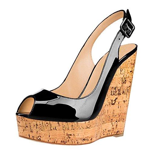 Women's Patent Peep Toe Plattform Sommer Slingback High Heel Keilabsatz Schuhe Schwarz Größe 39 EU (Patent Black Peep Toe)
