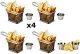 Set of 4 - Mini Chrome Chip Frying Fry Serving Basket 10 x 8 x 7cm + FREE 48 Sheets of Greaseproof Paper 20 x 20cm + FREE Pack Of 4 Quality Stainless Steel Sauce Cups - 4pcs Food Presentation Serving Baskets ¦ Ideal for Chips, Fries, Wedges, Onion Rings & Food Presentation - Great for Entertaining Family & Guests by Kitchen Stars