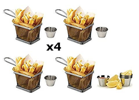Kitchen Stars Lot de 4mini paniers friteuse Chromé 10x 8x 7cm