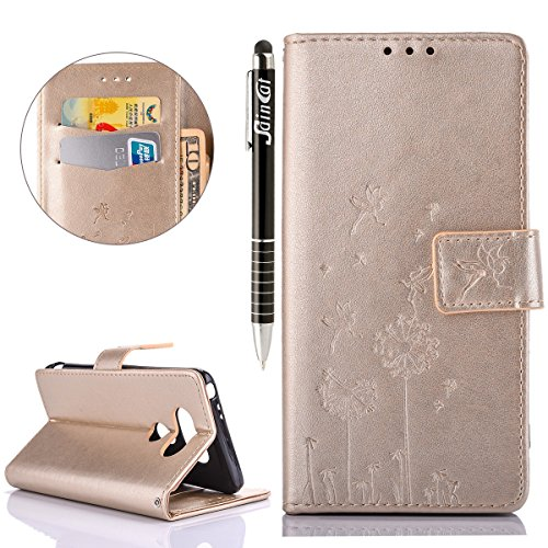 SainCat Coque Etui pour LG G5, LG G5 Coque Dragonne Portefeuille PU Cuir Etui, Coque de Protection en Cuir Folio Housse, SainCat PU Leather Case Wallet Flip Protective Cover Protector, Etui de Protect Pissenlit en relief-Or