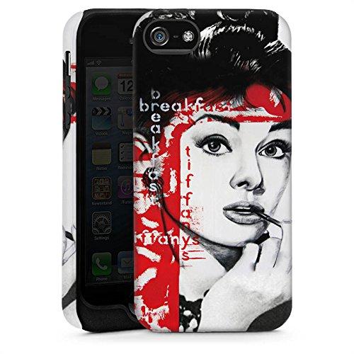 Apple iPhone 5s Housse Étui Protection Coque Audrey Hepburn Dessin Femme Cas Tough brillant