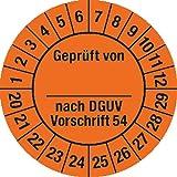 Prüfplakette Geprüft...DGUV Vorschrift 54, 2020 - 2029, Dokumentenfolie, Ø 3 cm, 100 St.