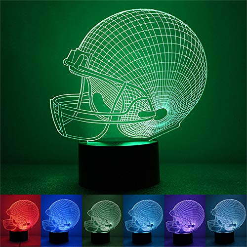 SSYYJJ 3D Illusion Nachtlampe für Kinder Dekoration Geburtstag Geschenk Tischlampen Amerikanischer Football-Helm mit Fernbedienung