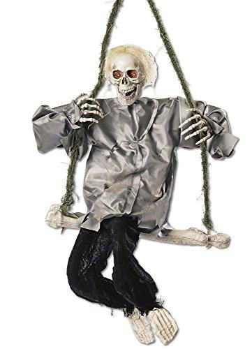 Animierte Skelett Knochenschaukel 90x50cm - Gruselige Halloween Dekoration (Animierte Halloween)