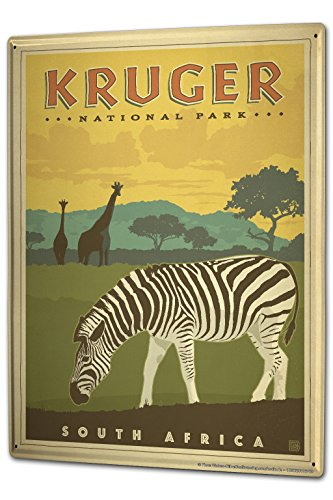 Blechschild XXL Welt Reise Kruger National Park Südafrika Zebra Giraffen