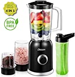 Standmixer, Decen Blender, 4 in 1 Multifunktion Smoothie Maker + Ice Crusher + Kaffeemühle mit 600ml Sport-Flasche BPA frei Tritan Mixer, 300W, 24000U/Min