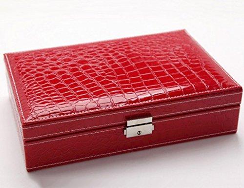 Étui cosmétique HWF Boîte à Bijoux en Cuir Organisateur (Couleur : D)