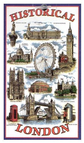 Historical London Tea Towel Souvenir Gift Big Ben Tower Bridge Nelson Telephone Box Buckingham Palace by Elgate (Ben Nelson)