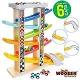 The Wooden Toy Factory - Mega Pista per Macchinine Click Clack in Legno Set con 6 Macchine - Include Area Parcheggio - Senza Montaggio - Sicuro e Ecologico - Idea Regalo per Bambini e Bambine