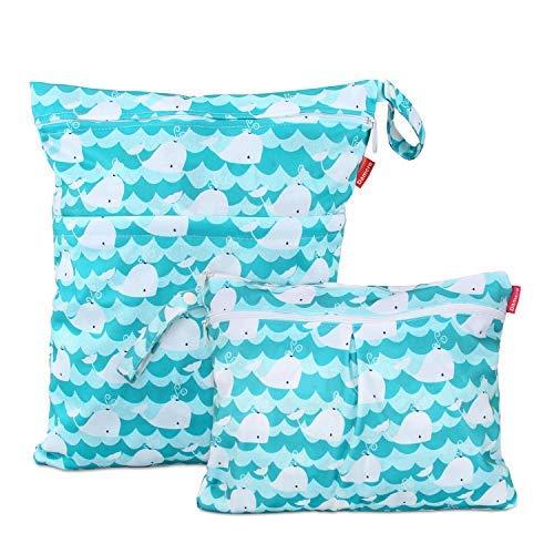 Damero 2 pezzi Bag Pannolino Riutilizzabile, Wetbag Pannolini Lavabili, Borsa per Pannolini per Pannolini per Bambini, Vestiti Sporchi e Altro, (Grande + piccolo, Cute Whale)