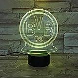 WZYMNYD Bundesliga Borussia Dortmund Fußball Team Club Fc USB 3D Led-Nachtlicht Kinder Fans Geburtstag Geschenke Fußball BVB Schreibtischlampe Schlafzimmer