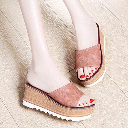 Damen Pantoffeln Plateau Nubukleder Peep-Toe Klassisch Einfach Rutschhemmend Strapazierfähig Schick Sommerlich Freizeit Schuhe Pink