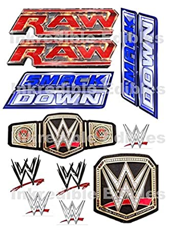 WWE Wrestling Bague Smackdown Raw Logo Carte Feuille Comestible Pour