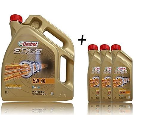 Castrol Bundle Huile de moteur Castrol Edge Titanium FSTTM 5W-40, 3 bidons de 1L + 1 bidon de 5L = 8L avec étiquette de changement d'huile incluse, spécifications/homologations: ACEA C3; API SN; VW 502 00 / 505 00; BMW Longlife-04