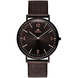 Swiss Quartz Eclipse   Black Men's Watch By Birline - Durable Stainless Steel Case - Scratch Resistant Sapphire Glass Lens - Unique Mesh Straps - 6mm Thick - Elegant Design