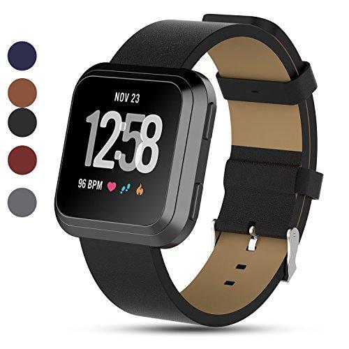 Für Fitbit Versa Smartwatch Zubehör Lederband, Feskio Echtleder Ersatz Armband Armbanduhr Armband für Fitbit Versa Fitness Smart Watch