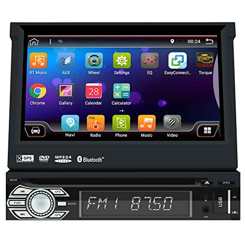 Universal-Android 6.0 Einzel Din, Touchscreen, 2 GB RAM, Bluetooth, DVD / CD / MP3 / USB / SD-AM / FM Autoradio GPS-Navigation, 7 Zoll-Digital-LCD-Monitor, abnehmbare Frontplatte, Wireless Remote (Abnehmbare Frontplatte Touchscreen)
