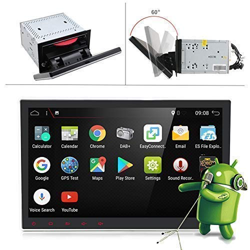 25.7cm Rotation Screen Android 7.1 2G-Ram Quad Core Double Din Universal Car Stereo GPS Navigation Radio Head Unit Support Video 1080P Bluetooth Mirrorlink Wifi USB DVR OBD2 SWC OBD DAB 4G Free Camera