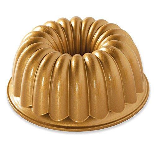 Mini Bundt Cake Pan (NordicWare Kuchenablage, rutschfest, elegant, für Party, Goldfarben)