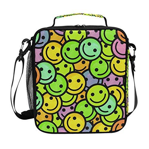 QMIN Lunchtasche Emoji Smiley Muster Lunchbox mit Reißverschluss, isoliert, wiederverwendbar, Thermo-Tragetasche mit Schultergurt für Mädchen Jungen Damen Herren