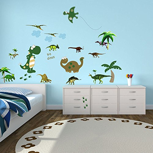 Image of Walplus Wall Stickers Large Dinosaur Removable Self-Adhesive Mural Art Decals Vinyl Home Decoration DIY Living Bedroom Office Décor Wallpaper Kids Room Gift, Multi-colour