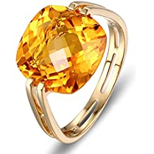 Epinki 18k Oro Anillos para Mujer Cuadrado Anillo de Diamante Anillos Compromiso con Amarillo Cristal
