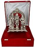 Silver Plated Ram Darbar Hanuman Sita Laxman Resin Statue Idol For Pooja 92.5 Silver Oxidized Finish (29 cm x 22.5 cm x 14.5 cm, Silver)