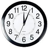 Bekith Reloj de pared , redondo de 29 cm, de cuarzo, silencioso, negro, 1 por caja