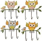 Unbekannt 2 Stück: Garderobenhaken Eulen aus Metall - Wandhaken Kindergarderobe mit 3 Kleiderhaken Kind Wandgarderobe - für Innen und Außen - Bunte Eule Vögel Tiere