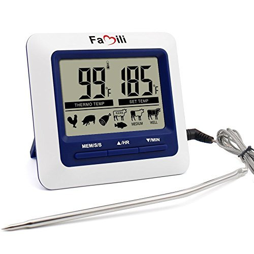 Famili MT004 Large LCD Digital Grilling, BBQ, Oven, Cooking, Meat Probe Thermometer Built in Timer with Stainless Steel Step Down Probe