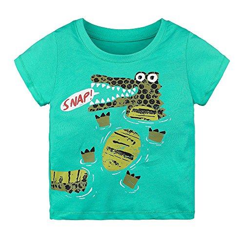 Giulogre Bébé Garçon Fille Infant T-Shirt Manches Courtes Chemise 3D Animale Voiture Cartoon Imprimé Cotton T-Shirt pour 18M - 6T Enfants Unisex