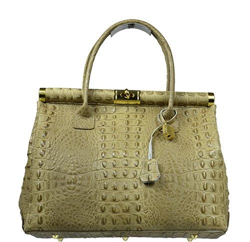 Schöne praktische Leder Braune Handtasche aus Leder Laureta Taupe Cocco in der Hand (Handtasche Italienische Leder Braune)
