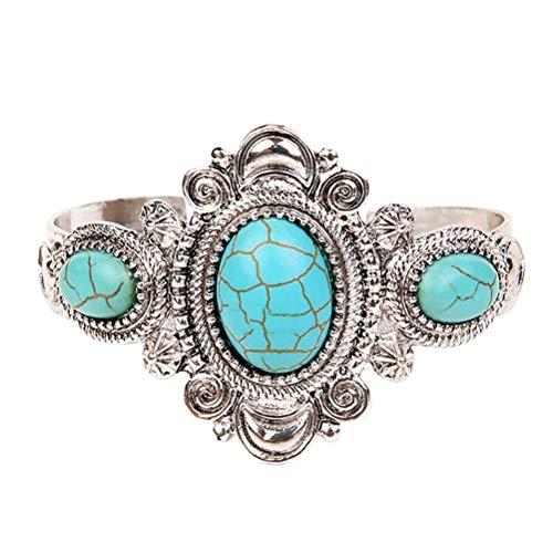 FENICAL Braccialetti turchesi vintage bohemien tondo perline charm polsino aperto gioielli moda per le donne (argento)