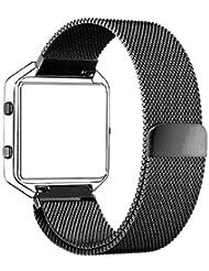 Fitbit Blaze Armband, mit Einzigartige Magnet-Verschluss, PUGO TOP® Replacement Wrist Band Uhrenarmband für Fitbit Fitness Uhr Blaze(Schwarz)