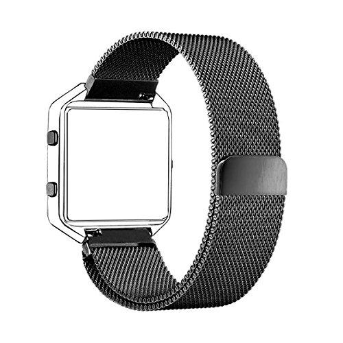 Fitbit Blaze Band (6,7-8,1 pollici), PUGO TOP® Milanese Loop acciaio cinturino in acciaio per Fitbit Blaze smart fitness Watch, Fitbit Blaze Banda sostituzione con unico magnete di blocco (Nero)