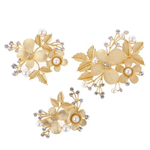 MagiDeal Haarnadel Haarclips Blume Haarspangen Braut Hochzeit Haarschmuck Haarklammern Gold, Set/3pcs
