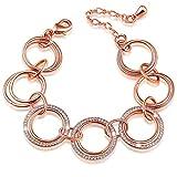 SONGPANNA Geschenk der Liebe, Rosegold Domen Armband mit Kristall Vergoldet Armreif mit österreichischen Kristall, Geschenk für Frauen