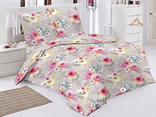 Bettwäsche 2 Teilig, Renforce-Baumwolle, Reißverschluss, 155x220 cm, Grau, Blumen