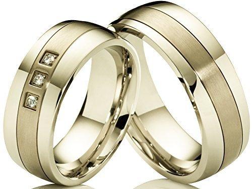 2 Edle Trauringe Eheringe Verlobungsringe aus Edelstahl & Titan mit Lasergravur und 3 Zirkonia im Damenring