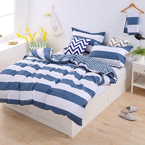 Set copripiumino in cotone matrimoniale 3 pezzi completo set biancheria da letto contiene 1x copripiumino(240x220cm) e 2x federe(50x75cm) set di lenzuola, colore: blu e bianco, righe