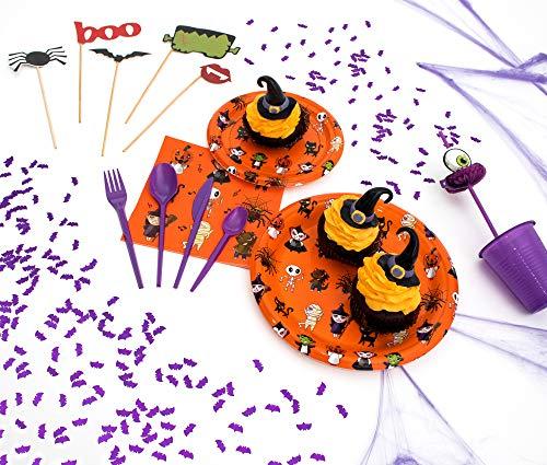 Party Planet - Pack de Productos con diseño de Monstruos de Halloween Ideal para Fiestas Divertidas con niños - Juego de vajilla de plástico para 12 Personas - 140 Piezas